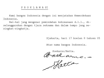 Penyusunan Teks Proklamasi Indonesia